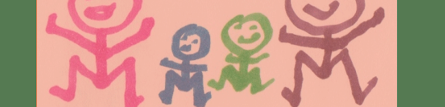 A family of four stick-people drawn in coloured pen - pink, blue, green and purple